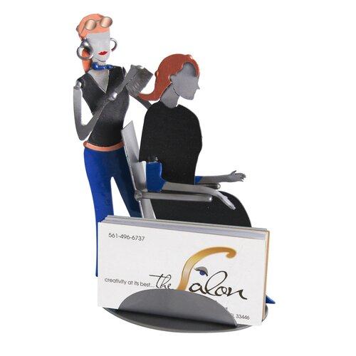 H & K SCULPTURES Desk Accessory Hair Stylist Business Card Holder