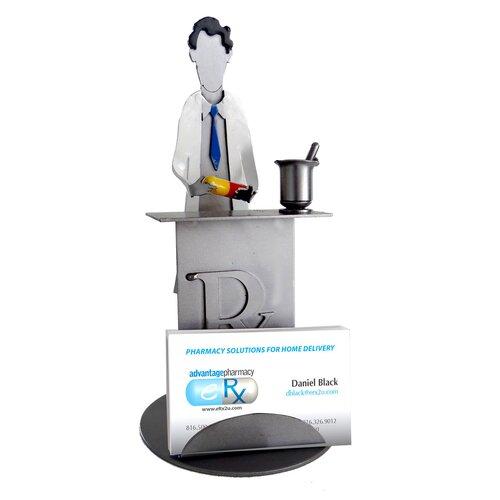 H & K SCULPTURES Desk Accessory Pharmacist Business Card Holder