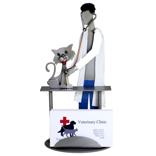 H & K SCULPTURES Desk Accessory Veterinarian Examining Cat Business Card Holder