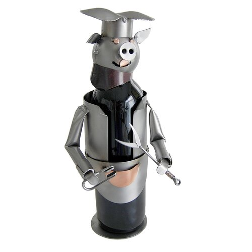 H & K SCULPTURES Barbeque Pig Wine Bottle Holder