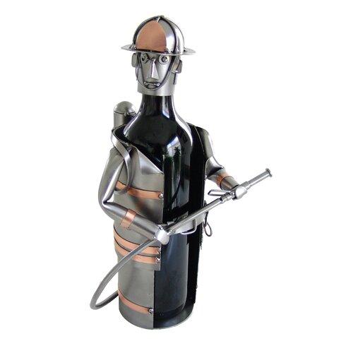 H & K SCULPTURES Fireman Wine Bottle Holder