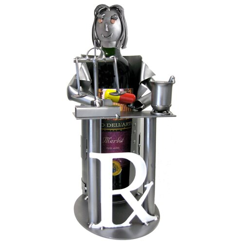 H & K SCULPTURES Female Pharmacist Wine Bottle Holder