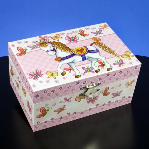 San Francisco Music Box Pony and Butterflies Musical Jewelry Box