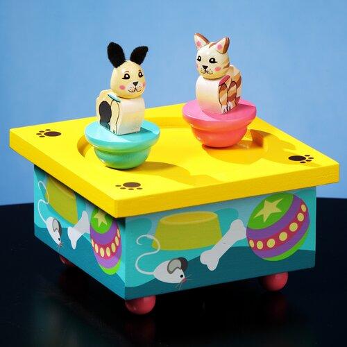 San Francisco Music Box Twirlytunes Kitty and Puppy Music Jewelry Box