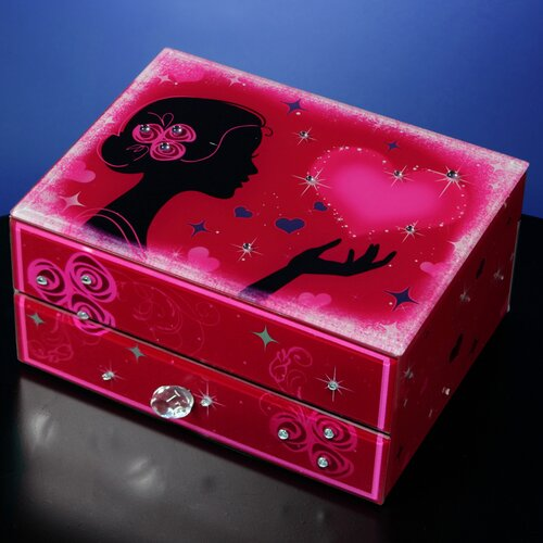 San Francisco Music Box Hearts and Kisses Drawer Jewelry Box