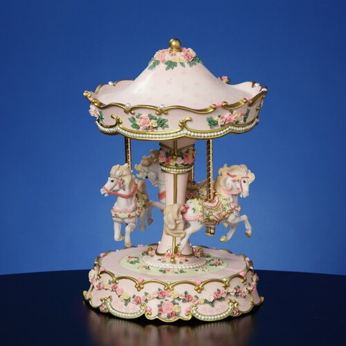 San Francisco Music Box Hearts and Roses 3-Horse Carousel Figurine