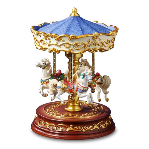 San Francisco Music Box Heritage 3 Horse Rotating Carousel Figurine