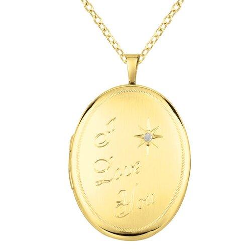 "Momento Lockets ""I Love You"" Oval Shaped Locket with Diamond Necklace"