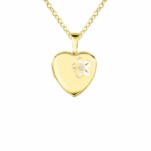 "Momento Lockets ""Flower"" Heart Shaped Locket with Diamond Necklace"