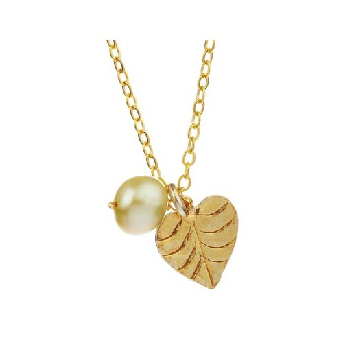 Metal Heart Shaped Leaf Cultured Pearl Pendant Necklace