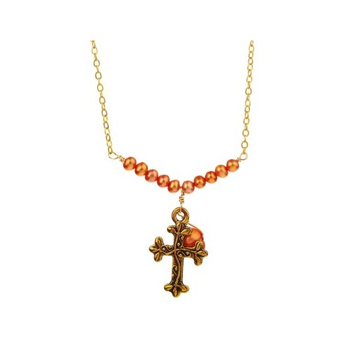 Metal Cross Cultured Pearl Pendant Necklace