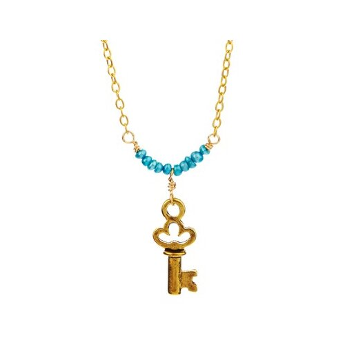 Metal Key Cultured Pearl Pendant Necklace