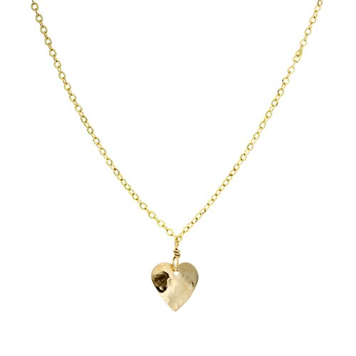Metal Hammered Heart Pendant Necklace