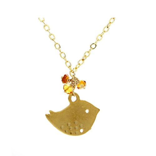 Metal Sparrow Citrine Pendant Necklace