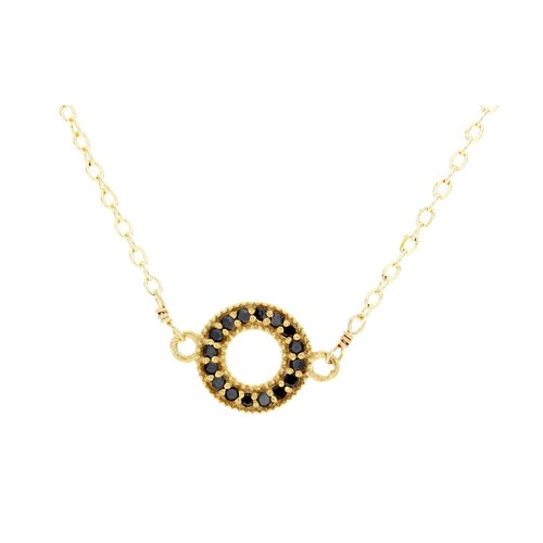Metal Circle Onxy Pendant Necklace