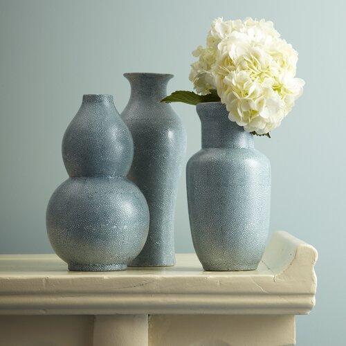 3 Piece Shagreen Vase Set