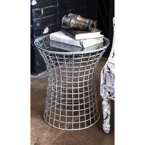 Paint Spatter Side Table with Glass