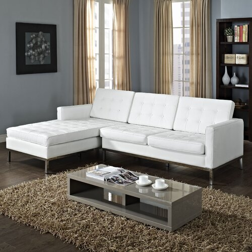 Modway loft leather left arm sectional sofa reviews for White sectional sofa wayfair