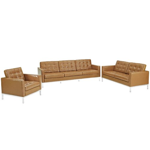 Loft 3 Piece Leather Sofa Set