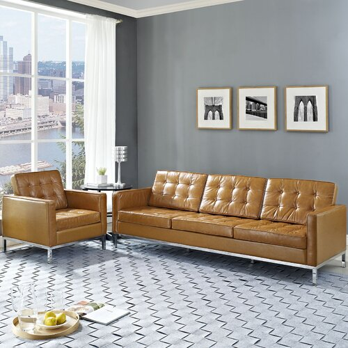 Loft 2 Piece Leather Arm Chair and Sofa Set