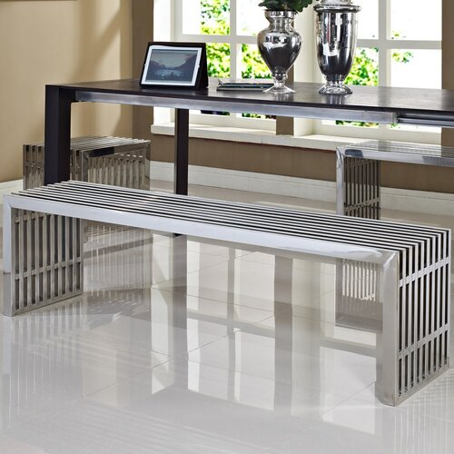 Modway Gridiron Stainless Steel Bench