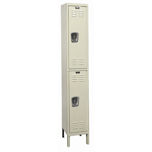 Hallowell Galvanite Locker Double Tier 1 Wide (Knock-Down) (Quick Ship)