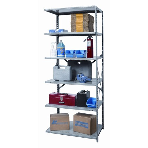 Hallowell Hi-Tech Heavy-Duty Open Type 6 Shelf Shelving Unit Add-on