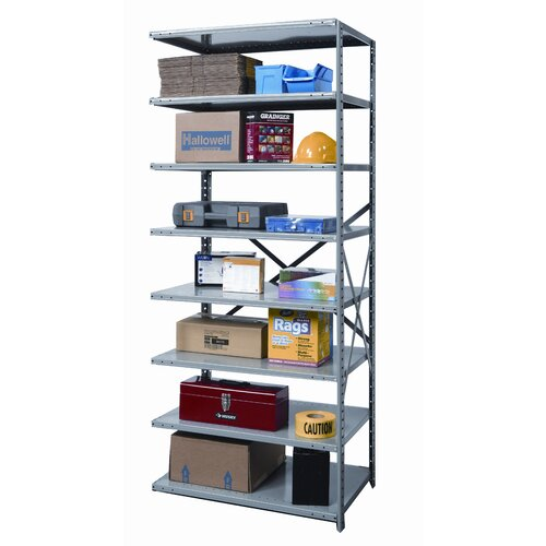 "Hallowell Hi-Tech Heavy-Duty Open Type 87"" H 8 Shelf Shelving Unit Add-on"