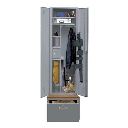 Hallowell TaskForceXP Emergency Response 1-Wide Single Tier All-Welded Double Door Locker with Drawer / Base (Quick Ship)