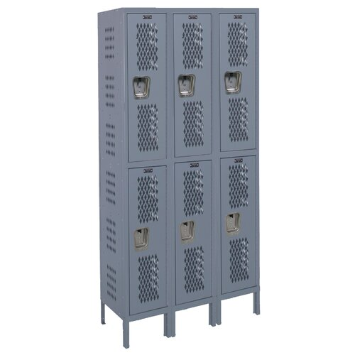 Hallowell Heavy-Duty 2 Tier 3 Wide Ventilated Box Locker