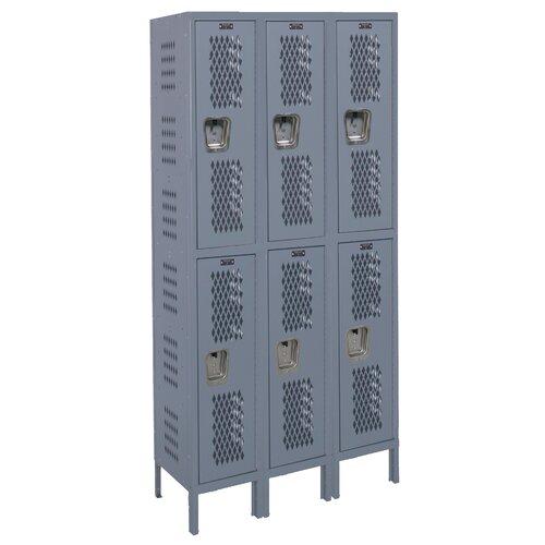 Hallowell Heavy-Duty 2 Tier 3 Wide Ventilated Box Locker