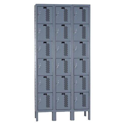 Hallowell Heavy-Duty Ventilated 3-Wide 6-Tier Locker (Unassembled) (Quick Ship)