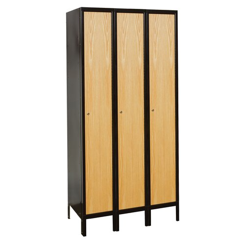 Hallowell Metal-Wood Hybrid Locker Single Tier 3 Wide (Assembled) (Quick Ship)
