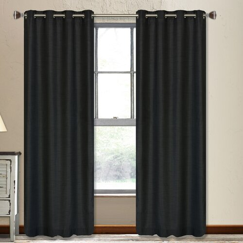 LJ Home Vegas Faux-Silk Grommet Window Panel Pair