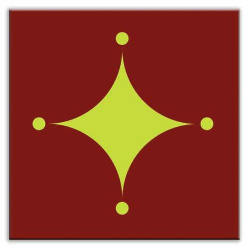 "Oscar & Izzy Folksy Love 6"" x 6"" Glossy Decorative Tile in A-boo Green-Burgundy"