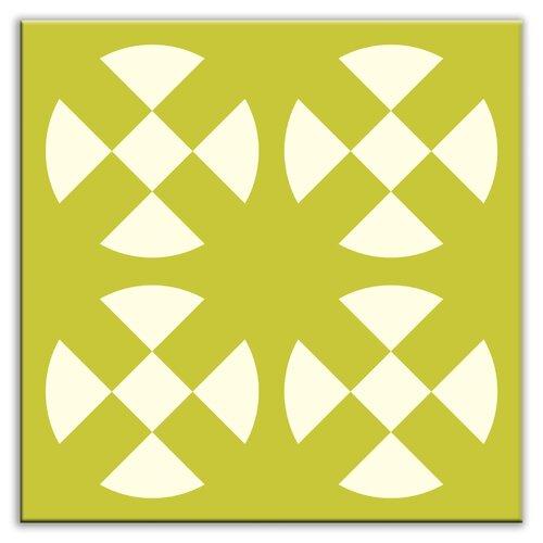 """Oscar & Izzy Folksy Love 6"""" x 6"""" Satin Decorative Tile in Hot Plates Avocado"""