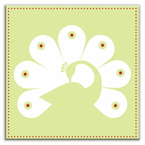 "Oscar & Izzy Folksy Love 6"" x 6"" Satin Decorative Tile in Primped Peacock Mint-White"