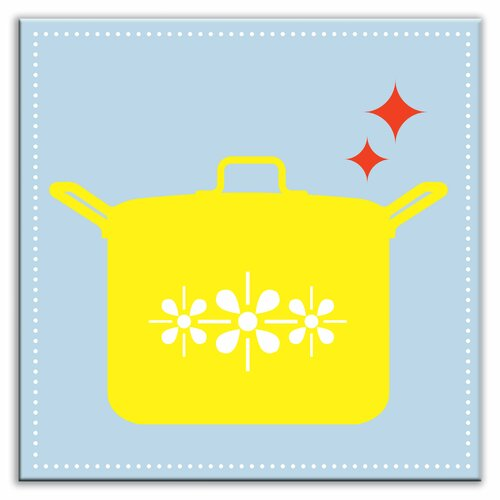 "Oscar & Izzy Kitschy Kitchen 6"" x 6"" Satin Decorative Tile in What's Cookin Light Blue-Yellow"