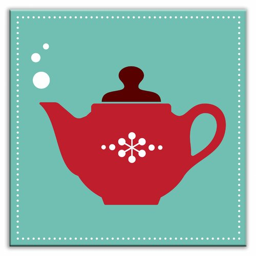 "Oscar & Izzy Kitschy Kitchen 6"" x 6"" Satin Decorative Tile in Spot of Tea Teal-Red"