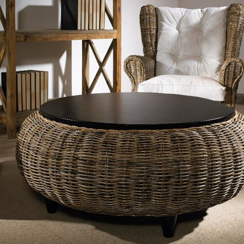 Padmas Plantation Paradise Cocktail Ottoman with Wood Top