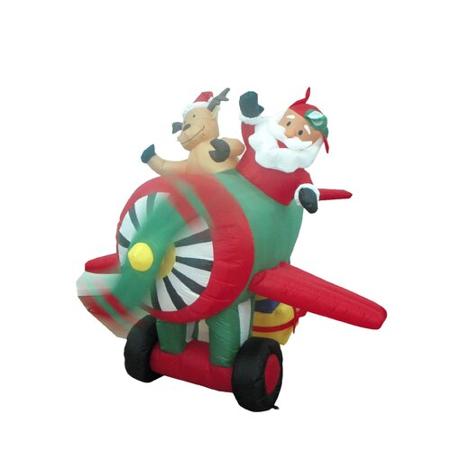Christmas Inflatable Santa on Plane Decoration