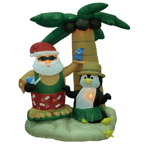 BZB Goods Christmas Inflatable Santa and Penguin with Palm Tree Decoration