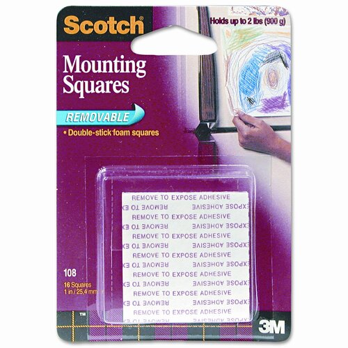 3M Precut Foam Mounting 1 Squares, Double-Sided, Removable, 16 Squares/pack