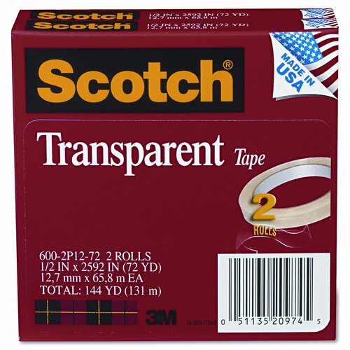 "3M Transparent Tape 600-2P12-72, .5 X 2592, 3"" core, transparent, 2 Rls"