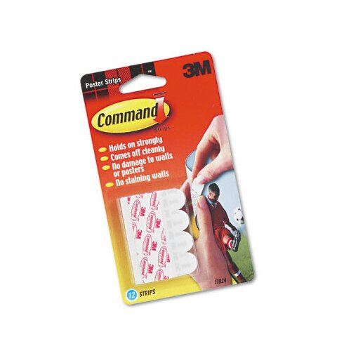 3M Command Adhesive Poster Strips, White, 12 Strips/pack