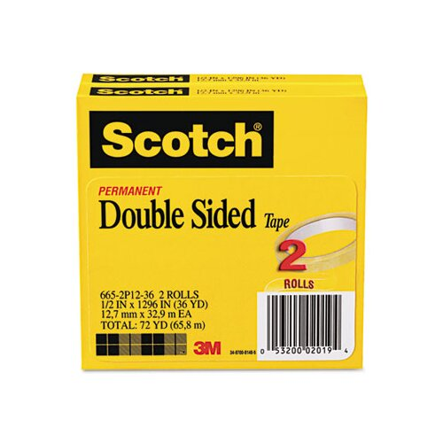 "3M 665 Double-Sided Tape, .5 X 1296, 3"" core, transparent, 2 Rls"