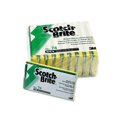 3M Scotch-Brite Medium-Duty Scrubbing Sponge, 3-1/2 x 6-1/4, 10/pack