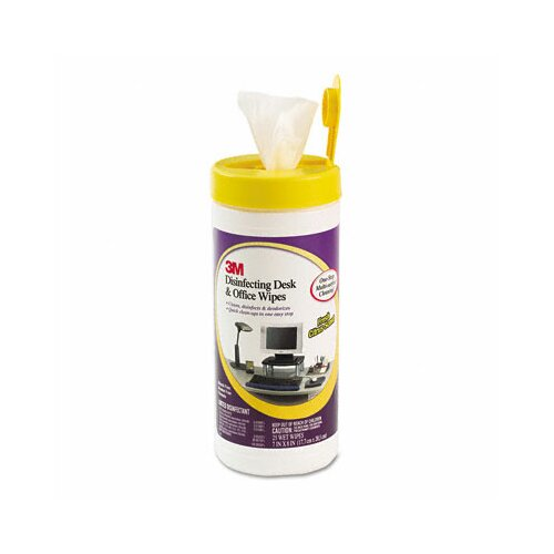 3M Disinfecting Desk and Office Wet Wipes, 25/Canister