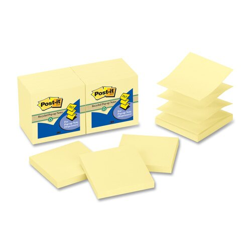 3M Post-It Greener Notes Recycled Pop-Up Notes Refill, 100 Sheets/Pad, 12 Pads/Pack