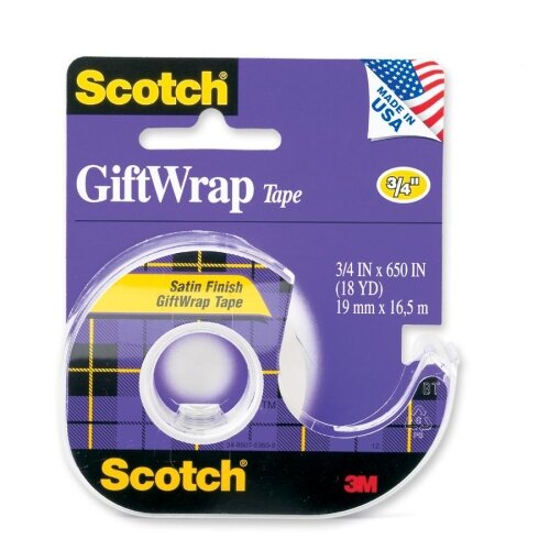 "3M Giftwrap Tape w/ Dispenser, 3/4""x650"", Clear"